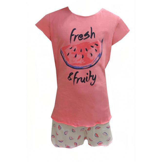 Mädchen Schlafanzug kurz mit Melonen Motiv, weiß-rosa