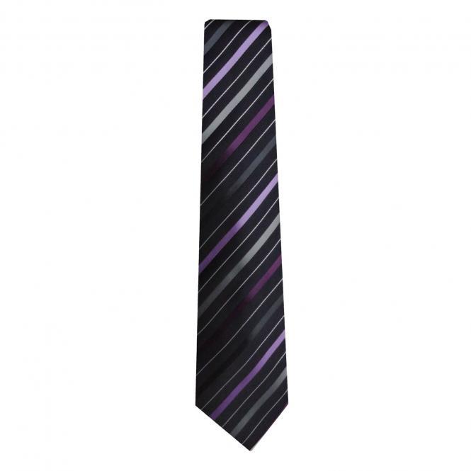 Schlips Krawatte Jungen gestreift, lila - 9958400