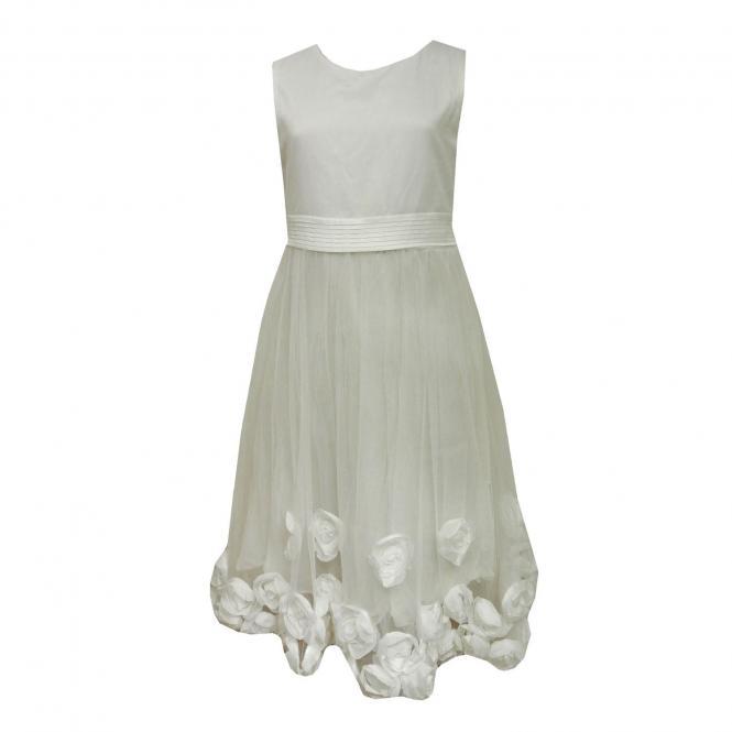 Festliches Kleid Mädchen mit Blümchen, creme