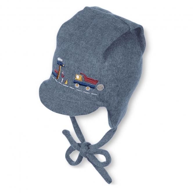 Baby Jungen Schildmütze Wintermütze zum Binden Lastwagen, blau - 01532
