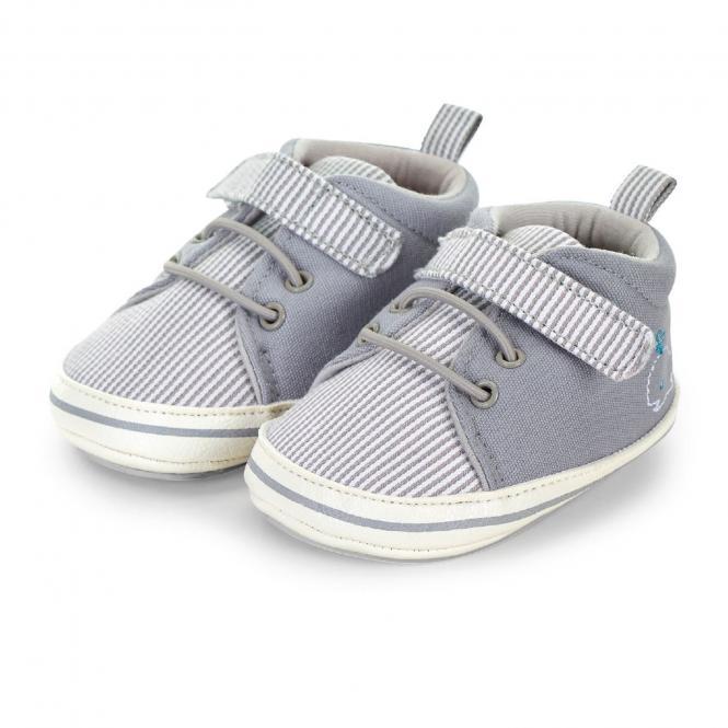 """Jungen Kinder Baby Schuhe Krabbelschuhe mit Klettverschluss und rutschfester Sohle für innen und außen """"Wal"""", rauchgrau – 2302025"""
