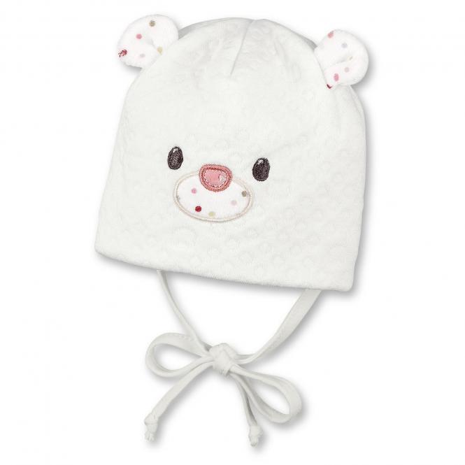 Baby Mädchen Mütze gefüttert zum binden Bärchen, natur - 4401715