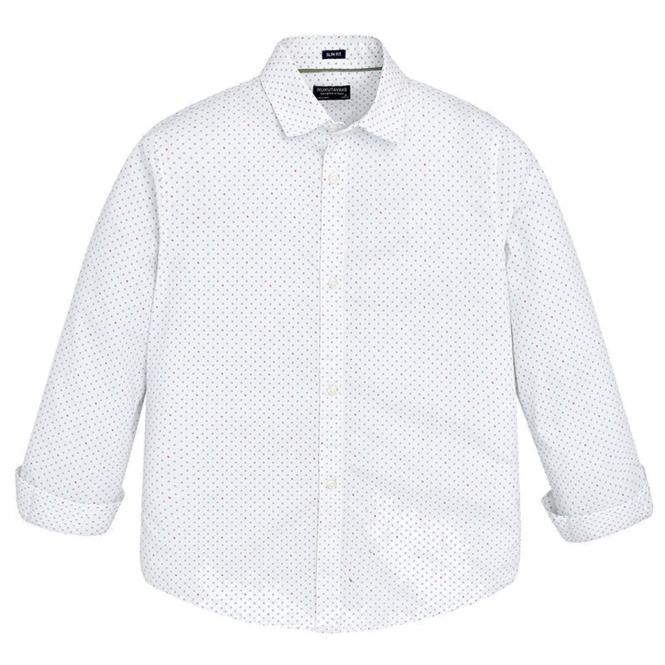 Festliches Jungenhemd Hemd langarm gemustert, weiß - 6154