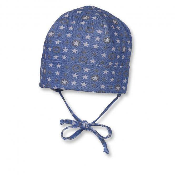 Baby Jungen Mütze Beanie Sterne zum binden mit Ohrenschutz, blau - 4501702