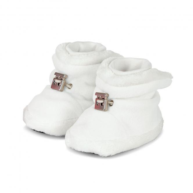 Baby Schuhe Mädchen gefüttert mit Stoppern und Gummizug, ecru - 5101620