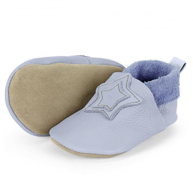 """Baby-Schuhe Jungen Krabbelschuhe aus 100% Leder mit Gummizug """"Stern"""", hellblau - 5201900"""