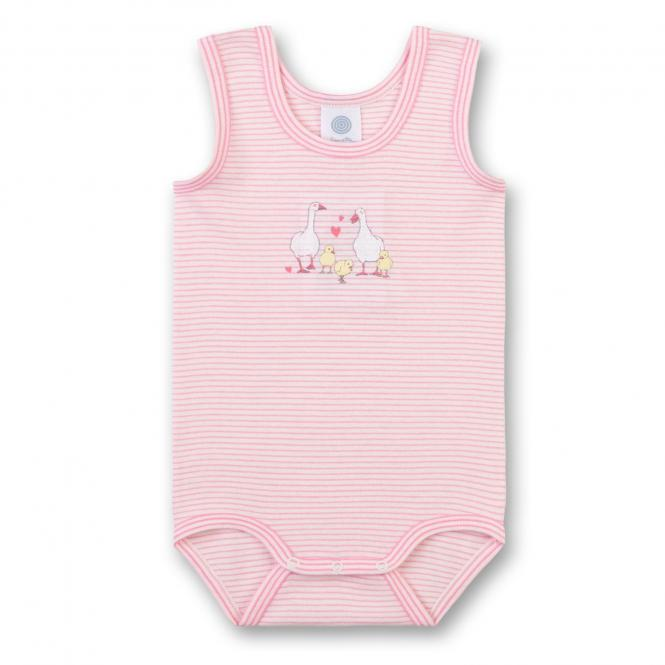 "Mädchen Baby Body kurz gestreift, rosa ""Gänsefamilie"" - 322586"