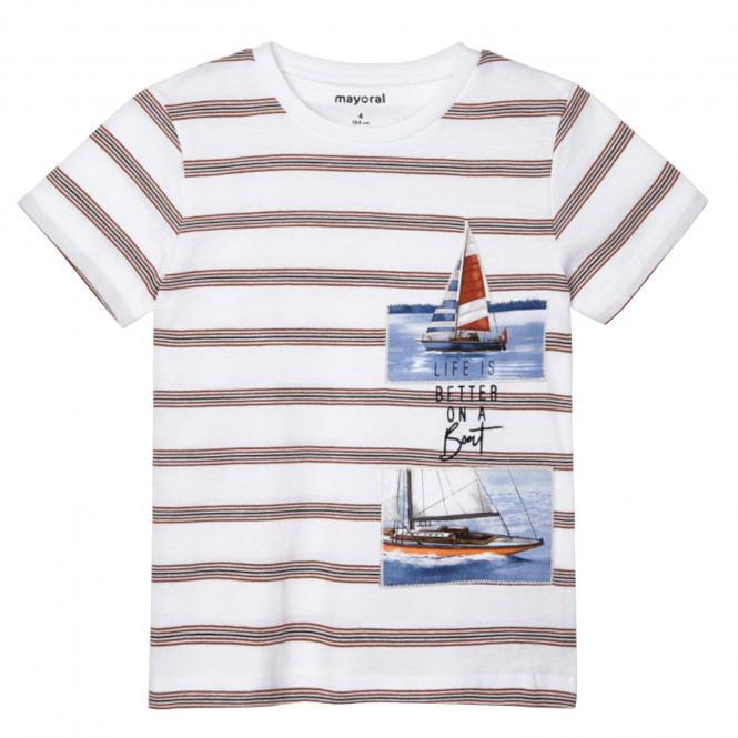 """Jungen T-Shirt 100% Baumwolle gestreift """"Segelboot"""", weiß/braun - 3029."""