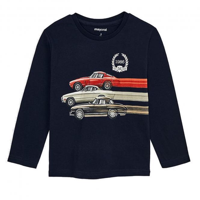 Jungen Langarm Shirt Print '' Autorennen'' , Dunkelblau, 4.038db