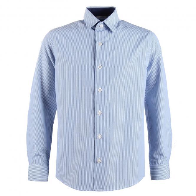 festliches Hemd langarm Slim-Fit Jungen, blau gestreift