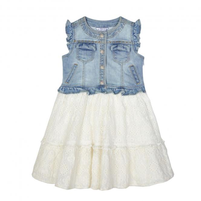 Mädchen Sommerkleid Kurzarm Kleid-Kombi Jeans, jeansblau/weiß - 3945
