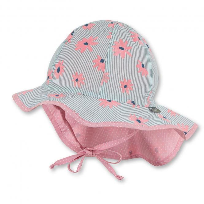 """Mädchen Kinder Baby Flapper Sommerhut zum Binden mit Nackenschutz Sommermütze """"Blumen"""", lichtgrau-rosa – 1412013"""