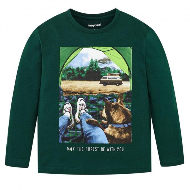 """Jungen Kids T-Shirt Langarmshirt, dunkelgrün """"Camping"""" - 4031"""