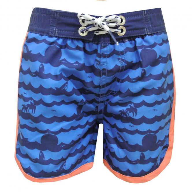 Badehose Badebermuda Schwimmshorts Jungen Wellendruck, ocean blue - 430302