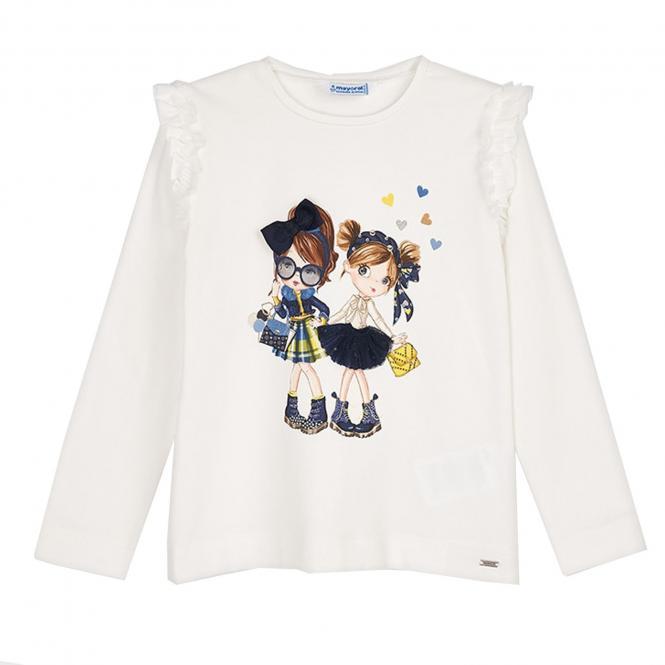 """Mädchen T-shirt Langarmshirt mit Rüsschen Details, """"Stylische Freundinnen"""", beige - 4.062b"""
