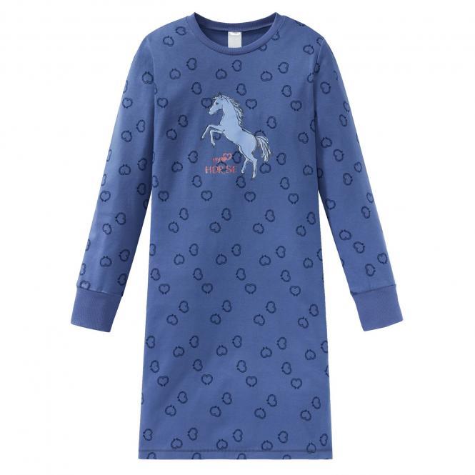 Schiesser Mädchen Nachthemd Langarm Pferdewelt Herz Hufeisen, jeansblau - 167883