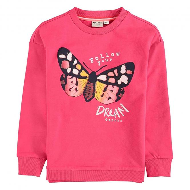 Garcia Mädchen Sweater bedruckt- Pink-U04461