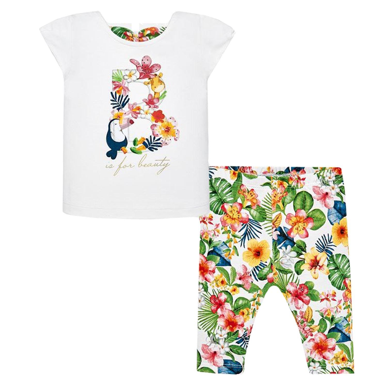 b23785bf1679d8 Mayoral Mädchen Baby Set T-Shirt Leggins, weiß bunt