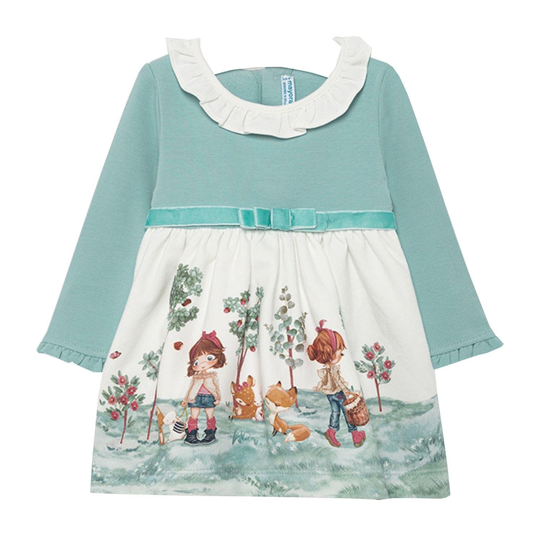 Mayoral Madchen Baby Kleid Langarm Winterkleid Mit Hemdkragen Und Gurtel