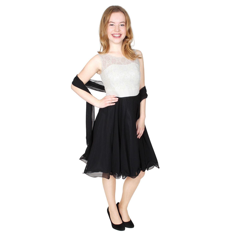 G.O.L. Festliches Chiffon-Kleid mit Stola, Spitze und ...